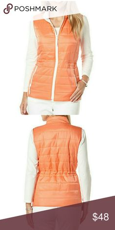 RAFAELLA Petite Lightweight Puffer Vest RAFAELLA PETITES Petite Lightweight Puffer Vest   Durable design is the lightweight layering essential of the season!!  Stand collar Front zipper Sleeveless Front pockets  Polyester  Adjustable waist ties on the inside. COLOR:Apricot Rafaella Jackets & Coats Vests