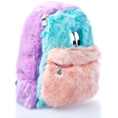Lazy Oaf Fur Face Backpack ($135) ❤ liked on Polyvore featuring bags, backpacks, pink backpacks, embroidered bags, block backpack, padded bag and padded backpack