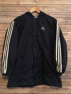 7f611ca53 Adidas Windbreaker Jacket Blue Full Zip Button Up With Hood Sz Large /  Medium | eBay