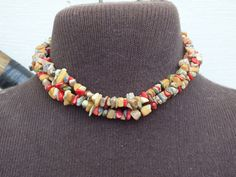 Crushed Stone Multi-Stand Colorful Necklace, 16 Inch Length Colorful and Pretty Vintage Southwestern Primitive Style Ladies Jewelry Necklace by GiftShopVintage on Etsy