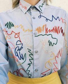 Embroidery fashion diy textiles 54 Ideas for 2019 Fashion Details, Diy Fashion, Fashion Outfits, Fashion Design, Fashion Clothes, Classy Fashion, Fashion Hacks, French Fashion, Style Fashion