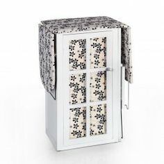 Mueble plancha madera blanco flores negras. Muebles para planchar en Nuryba.com tu tienda muebles y decoracion online