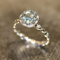 Ready to Ship Floral Aquamarine Engagement Ring 14k White Gold Pebble Diamond Wedding Band, Size 6.5 (Made to Order is Available) by LaMoreDesign on Etsy https://www.etsy.com/listing/261086690/ready-to-ship-floral-aquamarine