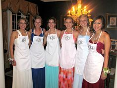 Monogrammed aprons to wear during the prom dinner so food doesn't get on your dress