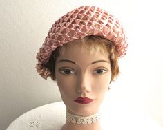 Vintage pink cellophane straw open weave hat with raffia trim at the side, constructed over stiff net, lovely shape, Moray brand, 1950s by CardCurios…