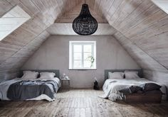 Attic bedroom in a Serene 18th-Century Gotland Home With Seaview - Gravity Home