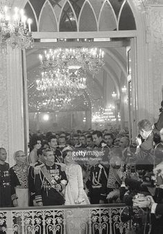 Shah of Persia Mohammad Reza Pahlavi and his Queen consort, Farah Pahlavi, show thereselves to the press, for the first official photos after their marriage. They get married in the Royal Palace. Teheran, Iran, December 21, 1959