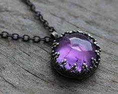AMETHYST and oxidized silver pendant.