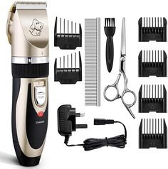 TOPOP Dog Clippers Cordless Rechargeable Pet Grooming Clippers Low Noise Electric Clippers Ceramic Movable Blade Cat Clippers with Metal Comb Guides and Cleaning Brush for Dogs/Cats Dog Grooming Clippers, Dog Grooming Tips, Horse Care, Dog Care, Ile De Wight, Outside Dogs, Hair Supplies, Pet Supplies, Pet Dogs