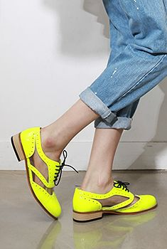 neon + cutout brogues. awesome.