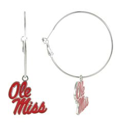 Red Ole Miss Logo Hoop Earrings
