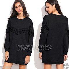 Ladies Women Tassel Sweatshirt Long Sleeve Blouse Shirt Long Tops Mini Dresses