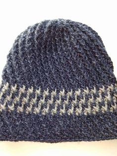 Crochet Men's Blue Ribbed HatHandmade Hat Crochet