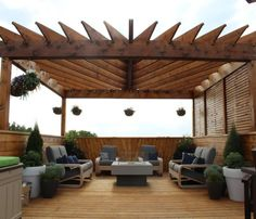 The pergola kits are the easiest and quickest way to build a garden pergola. There are lots of do it yourself pergola kits available to you so that anyone could easily put them together to construct a new structure at their backyard. Deck With Pergola, Rooftop Design, Pergola Plans, Garden Ideas To Make