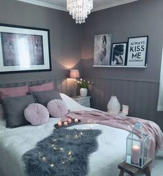 Grey pink and white bedroom instead of pink make it Turquoise and it would be beautiful with gray!