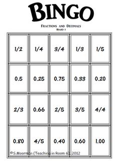 Fraction/decimal equivalents...could do with equivalent fractions and simplifying fractions, too