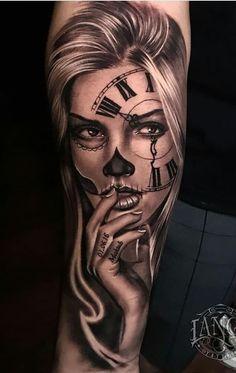 Girly Skull Tattoos, Sugar Skull Girl Tattoo, Girl Face Tattoo, Girl Arm Tattoos, Cool Forearm Tattoos, Dope Tattoos, Hand Tattoos, Tattoos For Guys, Tattos