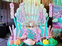 New Party Pool Decorations Mermaid Birthday Ideas Mermaid Theme Birthday, Little Mermaid Birthday, Little Mermaid Parties, Mermaid Themed Party, Baby Birthday, Mermaid Party Decorations, Birthday Party Decorations, Birthday Parties, Pool Decorations