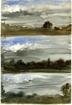 George Hayter (English, 1792-1871) Hemsted Park: Three studies with trees and storm clouds 1856, watercolour, 363 mm x 248 mm, The British Museum, London