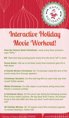 Get a workout while you watch your favorite holiday movie!