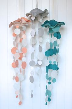 Jelly Fish Felt Mobile by benzie on Etsy, $42.00 - I think we could make these! Use hardening material to shape felt, attaching crepe paper twists to make it even easier!  Even a good art project for kids at school!