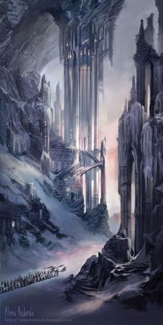 Almu Redondo Art: Frozen Fortress in the Mountains. Kind of elven fantasy style . - Almu Redondo Art: Frozen Fortress in the Mountains. Kind of elven fantasy style architecture. Fantasy City, Fantasy Castle, Fantasy Places, High Fantasy, Dark Fantasy Art, Fantasy World, Fantasy Concept Art, Fantasy Story, Fantasy Artwork