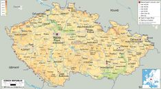 Detailed clear large political map of Czech Republic showing city capital, major cities, towns, provinces and boundaries with other countries. Republic City, Czech Republic, Classroom Map, Travel English, Free Maps, Central Europe, Travel Maps, Vintage World Maps, Country
