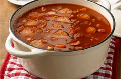 Smoked sausage and bean casserole A brilliant one-pot winter warmer, packed with spicy pork sausage in a rich tomato sauce.