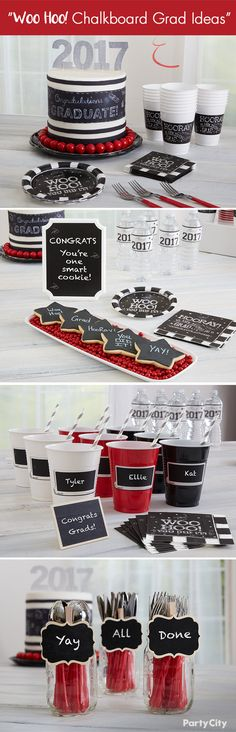 School might be over, but the party's just starting! Celebrate your grad's achievements with a chalkboard-themed celebration featuring pops of red, white, and black, cute grad-themed snacks, and DIY chalk accents sprinkled throughout.