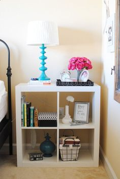 nightstand idea. this would be good for teenager's room