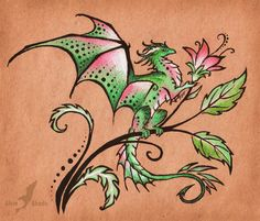 Flower dragon - tattoo design by =AlviaAlcedo on deviantART