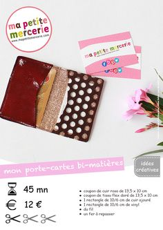 fiche technique porte-cartes bd Couture Sewing, Peta, Card Wallet, Diy And Crafts, Card Holder, Crafty, Make It Yourself, Blog, Crochet