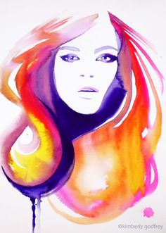 Fashion Illustration Original Watercolor Painting Pink Yellow Hair Salon Decor