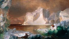 "This painting by Fredric Edwin called ""The Icebergs"" depicts Transcendentalism because it is a painting of nature. The image depicted is very calming and it seems like a refuge."