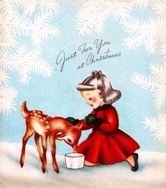 Little Girl and Baby Deer Vintage Christmas Card