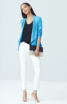 Trouvé Open Front Blazer, V-Neck Tee & Paige Denim Skinny Jeans  available at #Nordstrom
