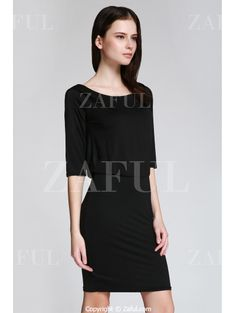 Open Back 3/4 Sleeve Bodycon Dress BLACK: Bodycon Dresses | ZAFUL