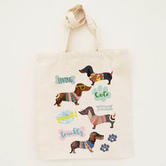Cotton Tote Bag Limited Edition Sausage dog Illustration - Canvas Cotton Tote Bag by Inkishop on Etsy