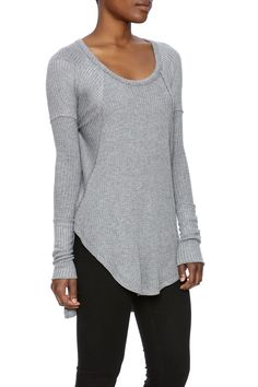 Heather grey thermal long sleeve top with a round neckline and high slit sides. Ventural Thermal Top by Free People. Clothing - Tops - Long Sleeve New Hampshire