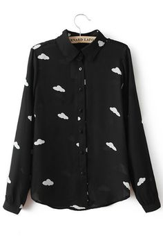 Black Clouds Print V-neck Long Sleeve Chiffon Blouse