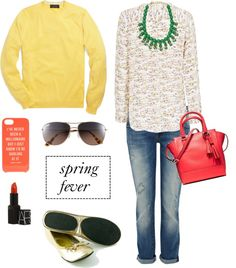 Spring fever: punchy yellows, floral prints, stylish sunnies,  a bright pink tote bag, and gold flats