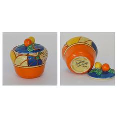 "LOT 460G: #CLARICECLIFF: ""Fantasque"". A small painted preserve pot decorated with flowers. Est. £15 - £20. Coming up in our #Silver #Jewellery #Toys and #Railwayana #Auction on Thursday 25th May. To include #Watches #Collectables #Pictures #China & #Antique #Furniture #May25 #whittonsauctions #Honiton #pin"