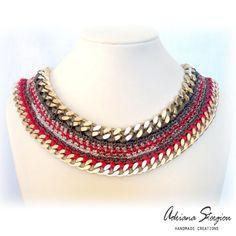 CROCHET NECKLACES : Crochet & chain necklace