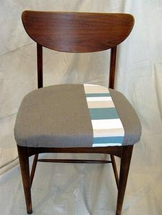 wood chair with patchwork seat