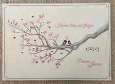Wedding Tree Fingerabdruck Baum Ast Hochzeit Taufe Geschenk Leinwand 50x70cm
