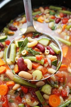 This is the best Minestrone Soup you'll ever make. Minestrone soup is very versatile. You can add whatever vegetables, beans, and pasta you like. Learn how to make delicious homemade minestrone soup. Crock Pot Slow Cooker, Crock Pot Cooking, Slow Cooker Recipes, Soup Recipes, Vegetarian Recipes, Cooking Recipes, Dinner Recipes, Vegan Meals, Lunch Recipes