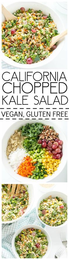 California Girl Chopped Kale Salad. Vegan, Gluten Free. Quinoa, kale and all the veggies, plus flaked coconut & juicy grapes with a champagne vinaigrette. From The Glowing Fridge | Healthy Lunch Recipes