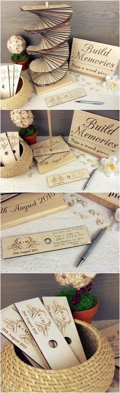 build memories wedding guest book / http://www.deerpearlflowers.com/rustic-country-wood-wedding-guest-books/