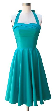 The Trashy Diva Trixie Dress in Teal Poplin! - love the color, but would worry a little about it being short-waisted on me.