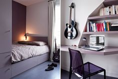 hidden and clever storage options for a clutter free teenage room.
